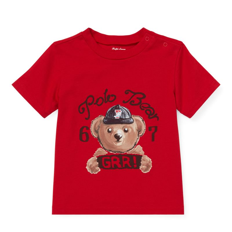 ポロベア・コットン・半袖Tシャツ[レッド](男の子12〜24か月用)