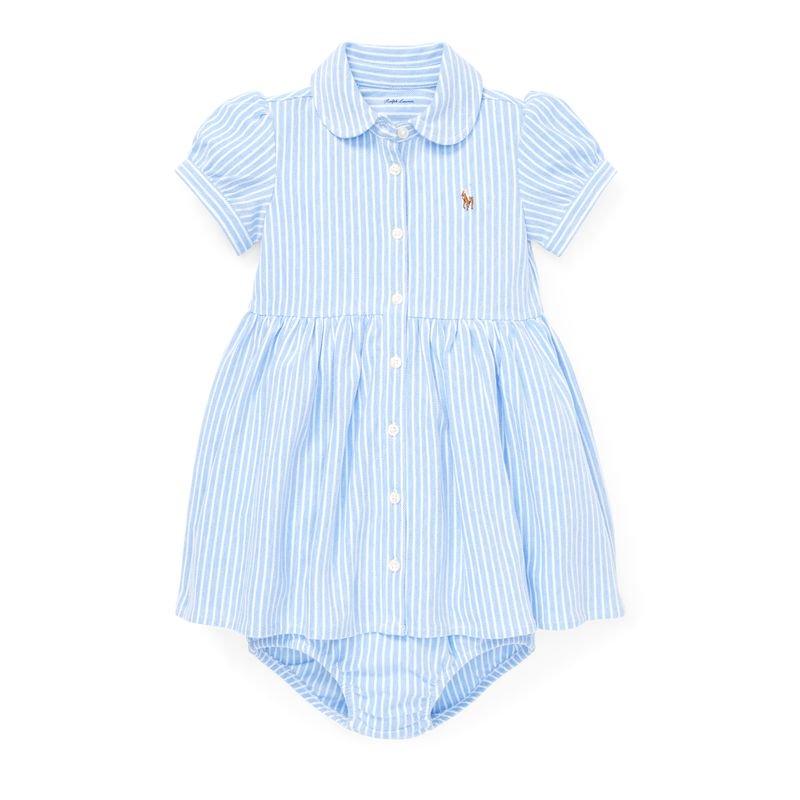 ストライプ・ニットオクスフォード・半袖ドレス[ライトブルーマルチ](女の子0〜24か月用)
