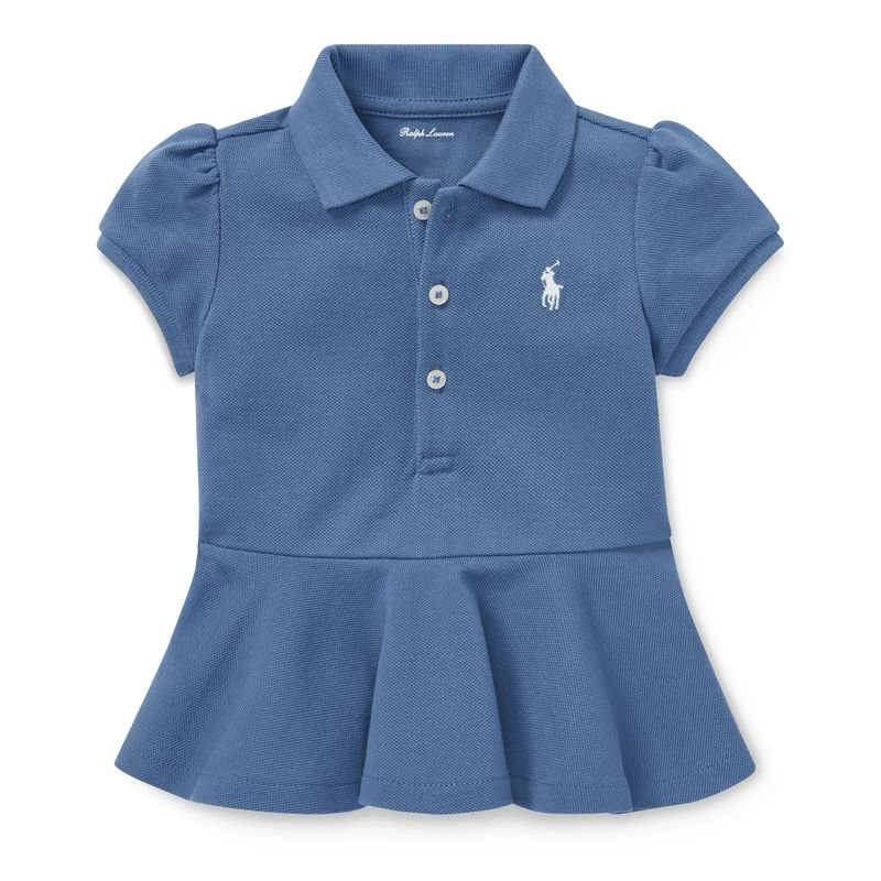 コットンメッシュ・ぺプラム・半袖ポロシャツ[2色展開](女の子12〜24か月用)