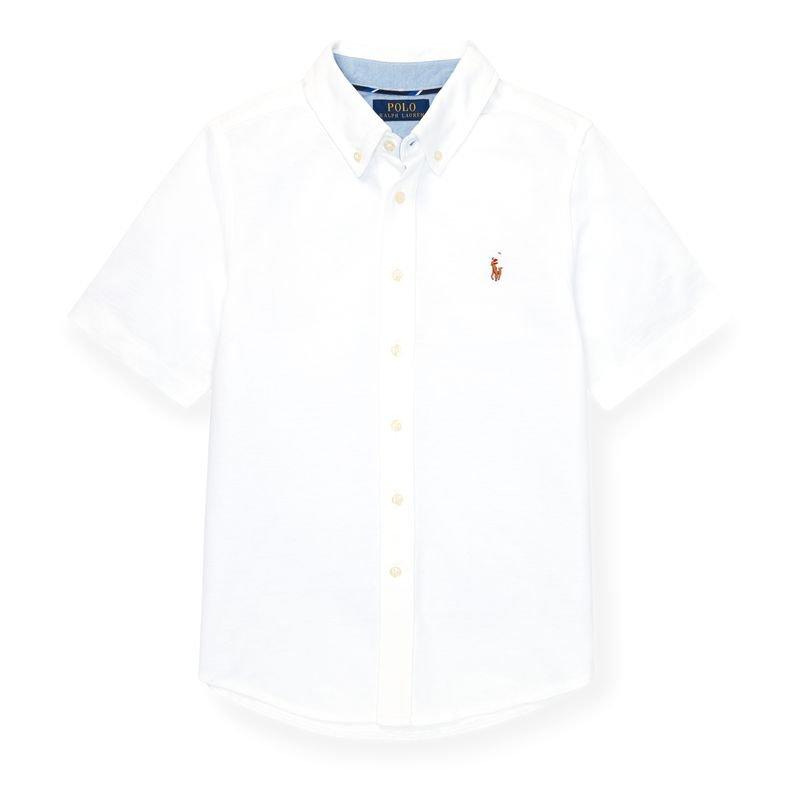 ニット・コットン・オクスフォード半袖シャツ[2色展開](ボーイズS〜XL)