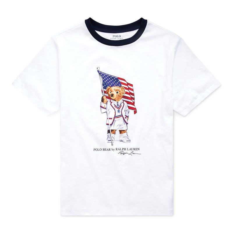 フラッグベア・コットン・半袖Tシャツ[ホワイト](ボーイズS〜XL)