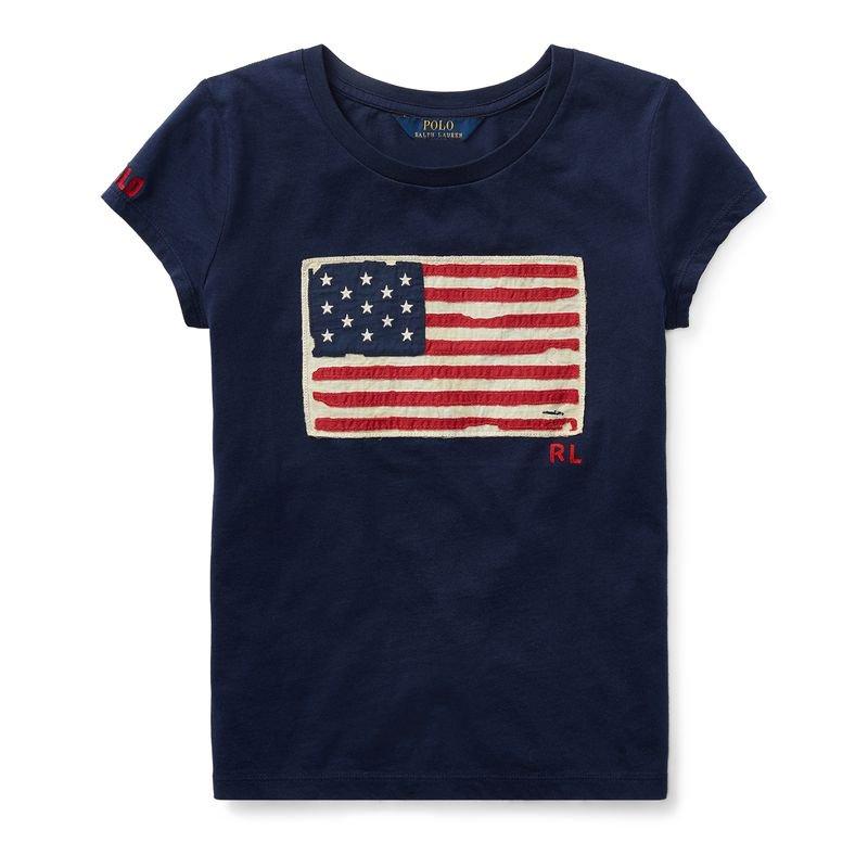 アメリカンフラッグ・コットン・半袖Tシャツ[2色展開](女の子2〜7歳用)