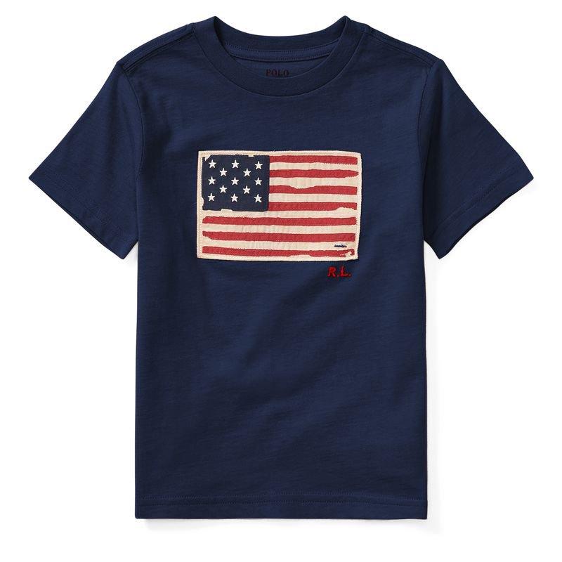 アメリカンフラッグ・コットン・半袖Tシャツ[3色展開](ボーイズS〜XL)