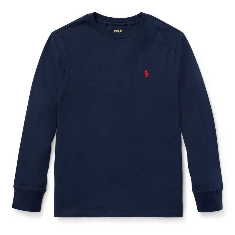 コットン・クルーネック・長袖Tシャツ[6色展開](ボーイズS〜XL)