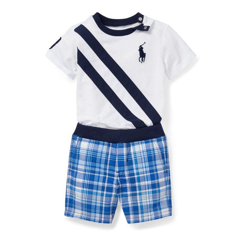 ビッグポニーTシャツ&リバーシブルショート・上下セット[ホワイトマルチ](男の子12〜24か月用)