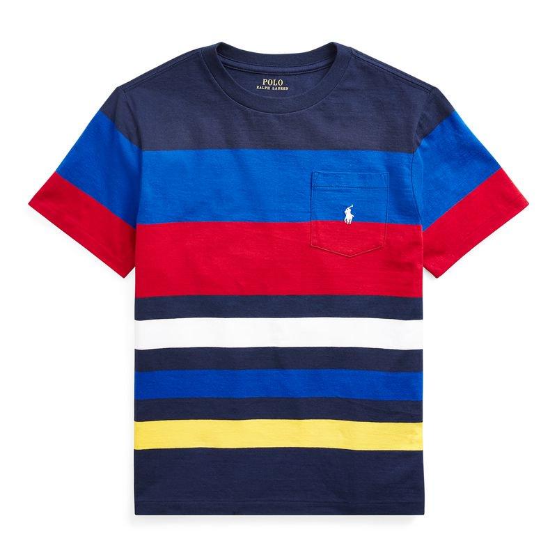 ストライプ・コットンジャージー・半袖Tシャツ[ネイビーマルチ](ボーイズS〜XL)
