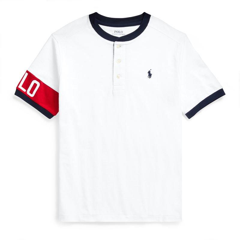 コットンジャージー・ヘンリーネック・半袖Tシャツ[ホワイト](ボーイズS〜XL)