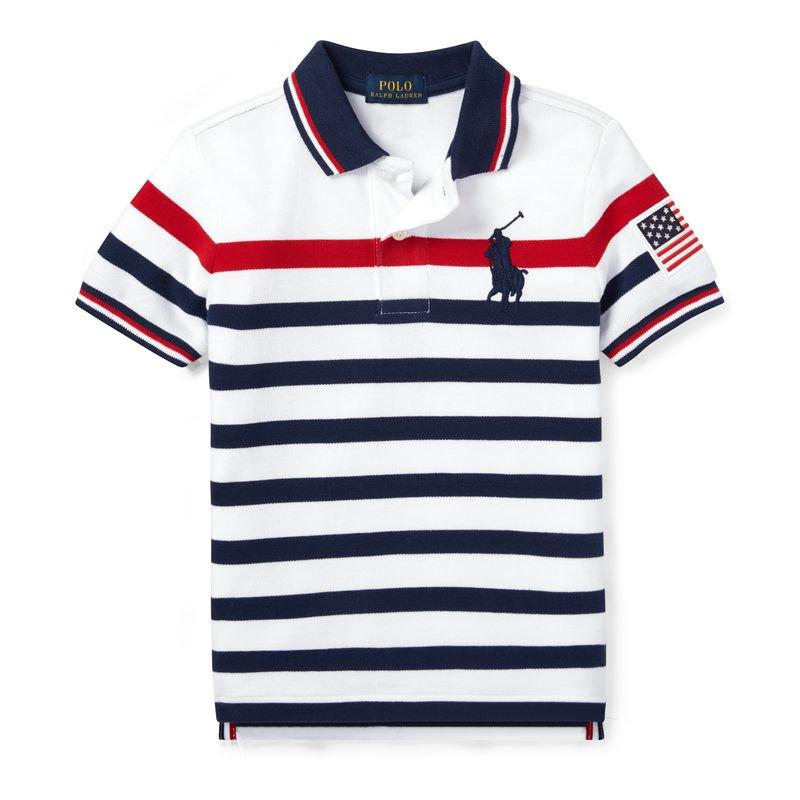 ビッグポニー・ストライプ・半袖ポロシャツ[ホワイト](男の子2〜7歳用)