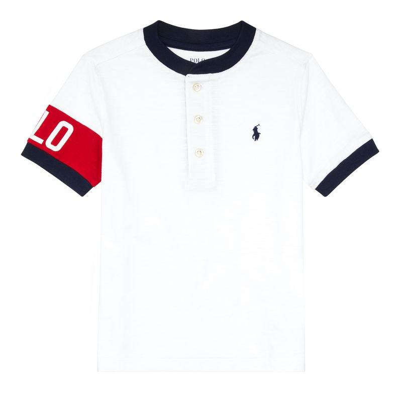 コットンジャージー・ヘンリーネック・半袖Tシャツ[ホワイト](男の子2〜7歳用)