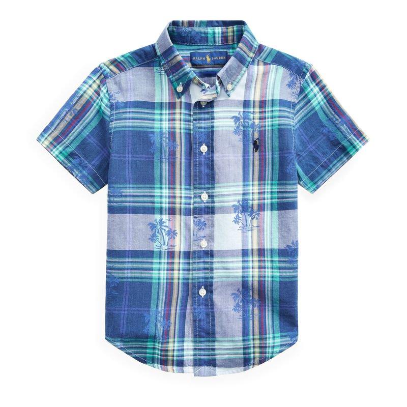 コットン・マドラス・半袖シャツ[ブルー](男の子2〜7歳用)