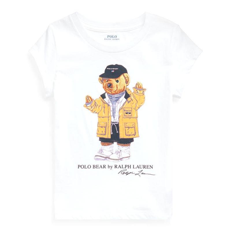 レインコートベア・コットン・半袖Tシャツ [ホワイト](女の子2〜7歳用)