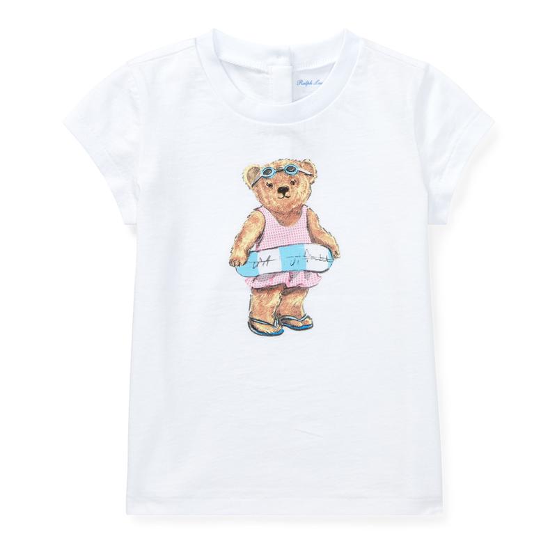 <img class='new_mark_img1' src='https://img.shop-pro.jp/img/new/icons15.gif' style='border:none;display:inline;margin:0px;padding:0px;width:auto;' />ビーチベア・コットン・半袖Tシャツ[ホワイト](女の子12〜24か月用)