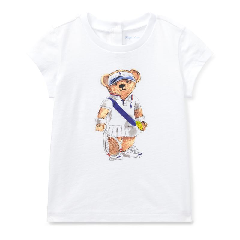 テニスベア・コットン・半袖Tシャツ[ホワイト](女の子12〜24か月用)