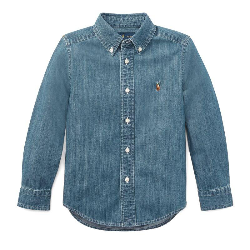 コットン・デニム・長袖シャツ[ブルー](男の子2〜7歳用)