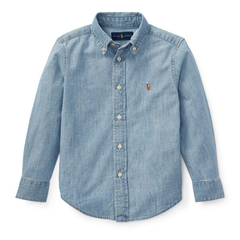 コットン・シャンブレー・長袖シャツ[ブルー](男の子2〜7歳用)
