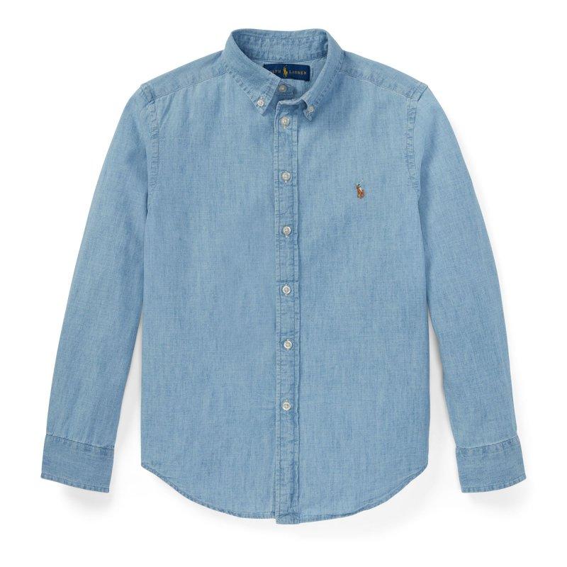 コットン・シャンブレー・長袖シャツ[ブルー](ボーイズS〜XL)