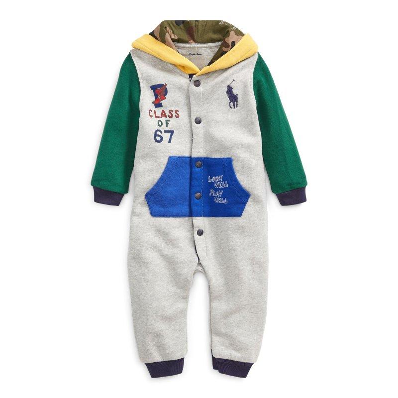 ビッグポニー・カラーブロック・カバーオール[グレー](男の子0〜9か月用)