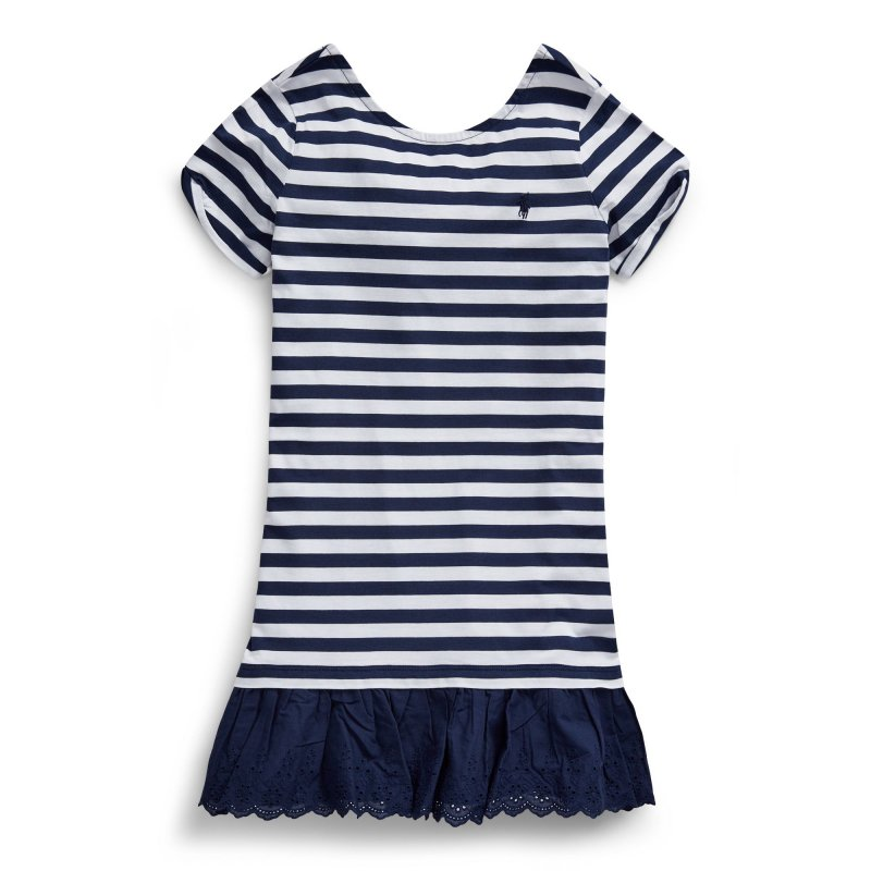 ストライプ・アイレット・半袖ドレス[ネイビー](ガールズS〜XL)