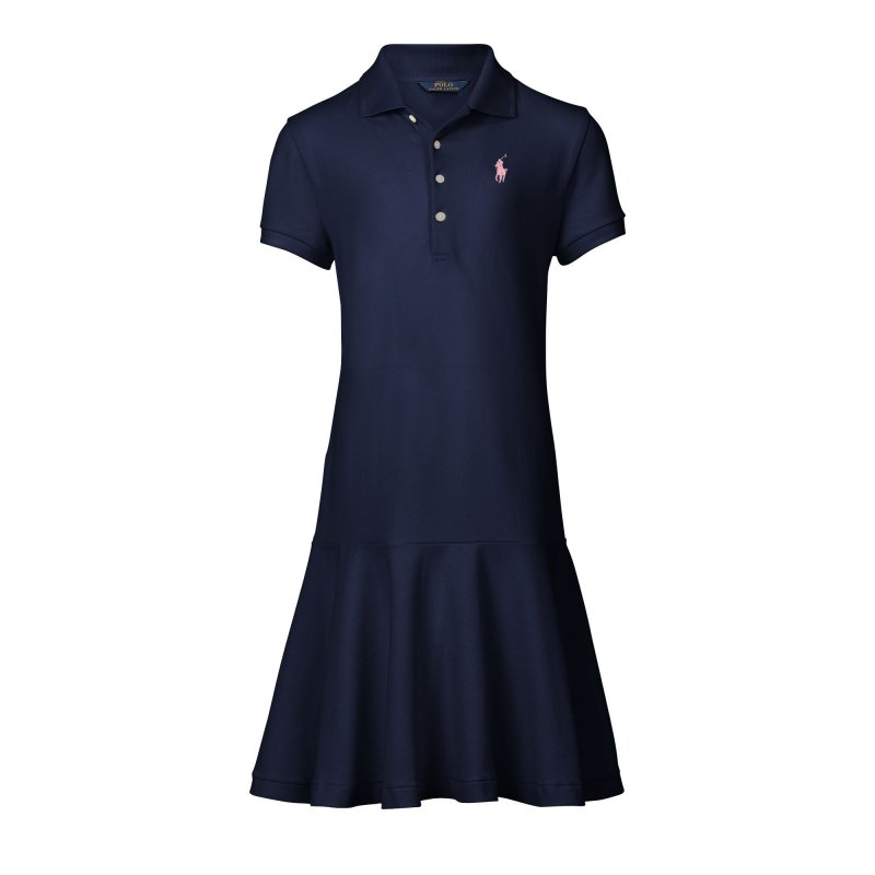 ストレッチコットン・メッシュ・ポロ半袖ドレス[2色展開](ガールズS〜XL)