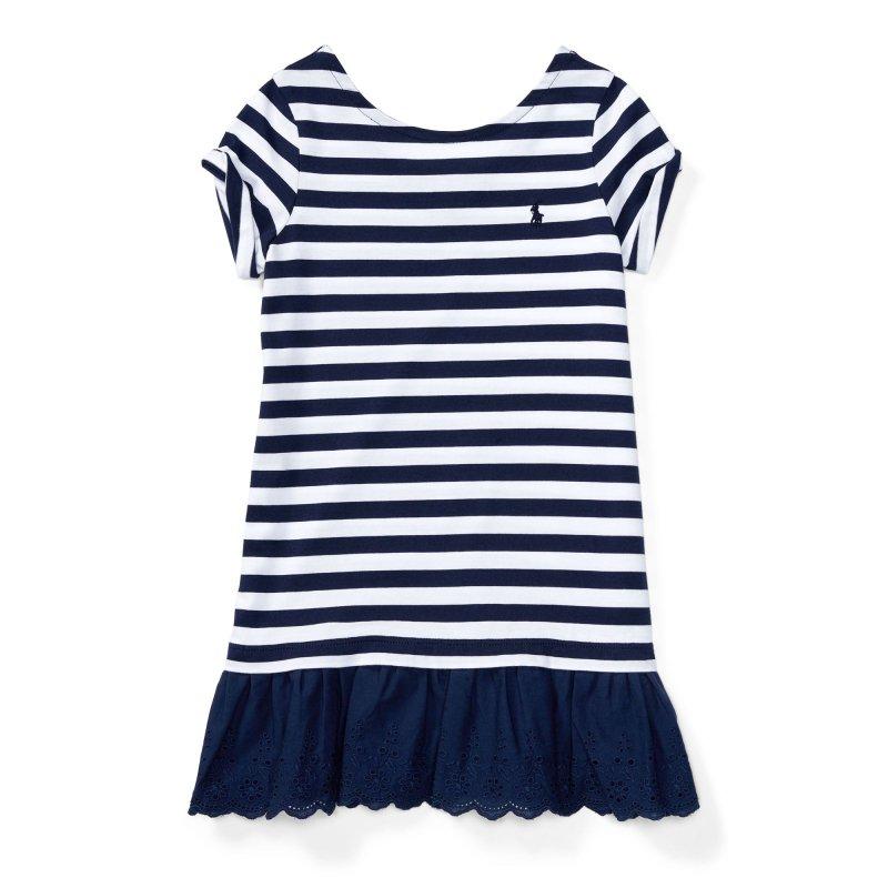 ストライプ・アイレット・半袖ドレス[ネイビー](女の子2〜7歳用)