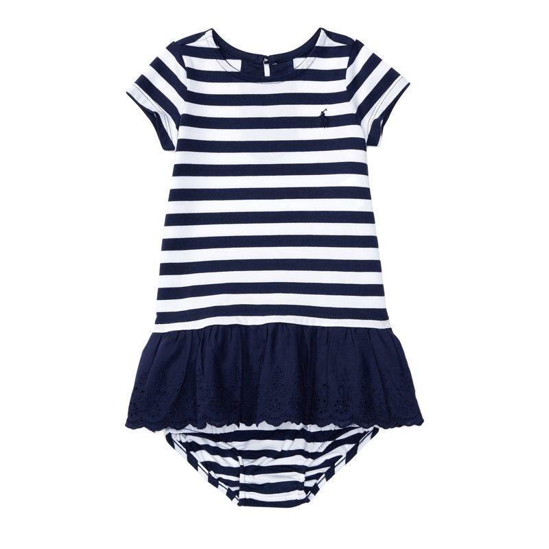 ストライプ・アイレット・半袖ドレス[ネイビー](女の子0〜24か月用)