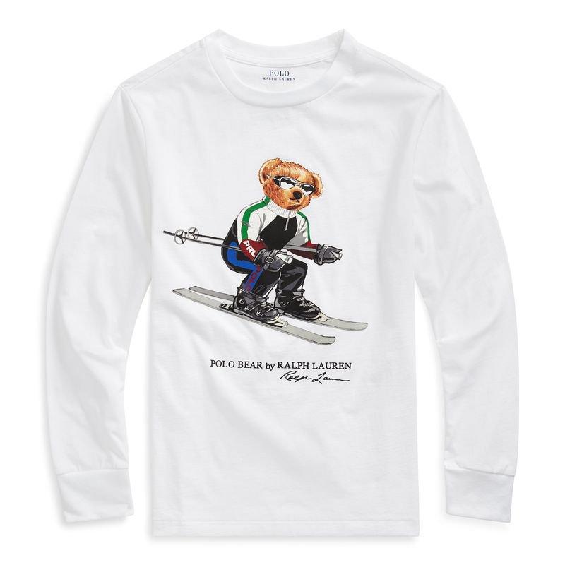 スキーベア・コットン・長袖Tシャツ[ホワイト](ボーイズS〜XL)