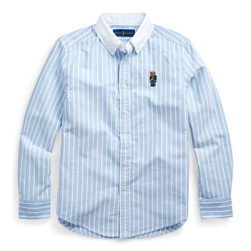 ポロベア・コットン・オクスフォード長袖シャツ[ブルー&ホワイト](ボーイズS〜XL)