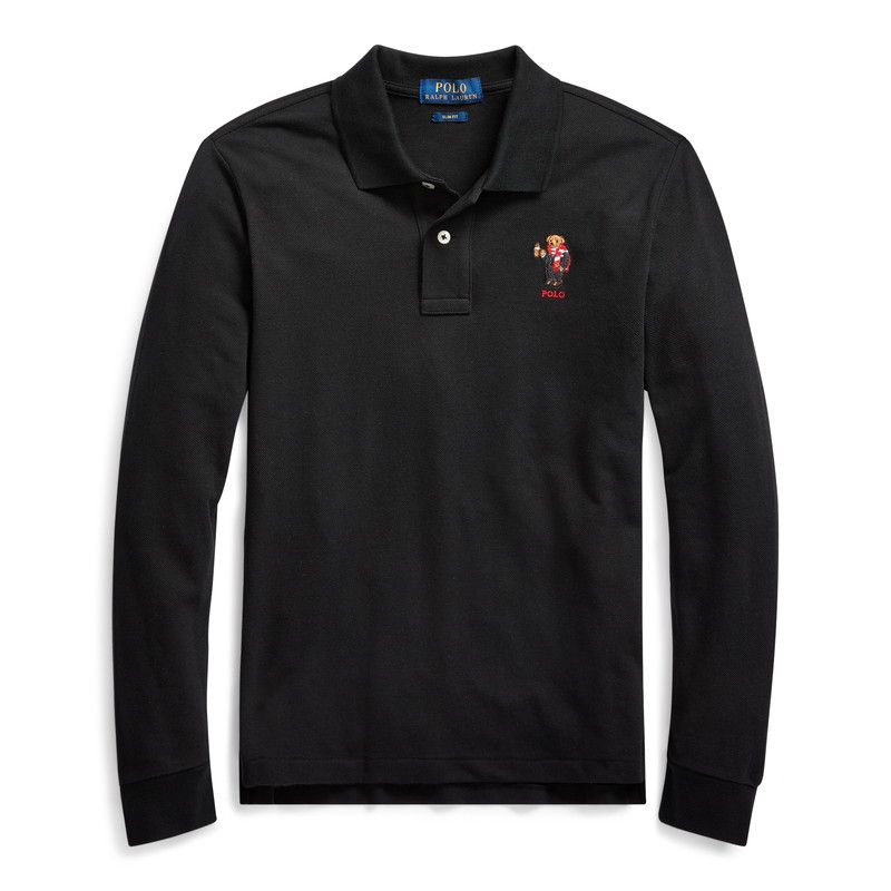 スリムフィット・ココアベア・長袖ポロシャツ[ブラック](ボーイズS〜XL)