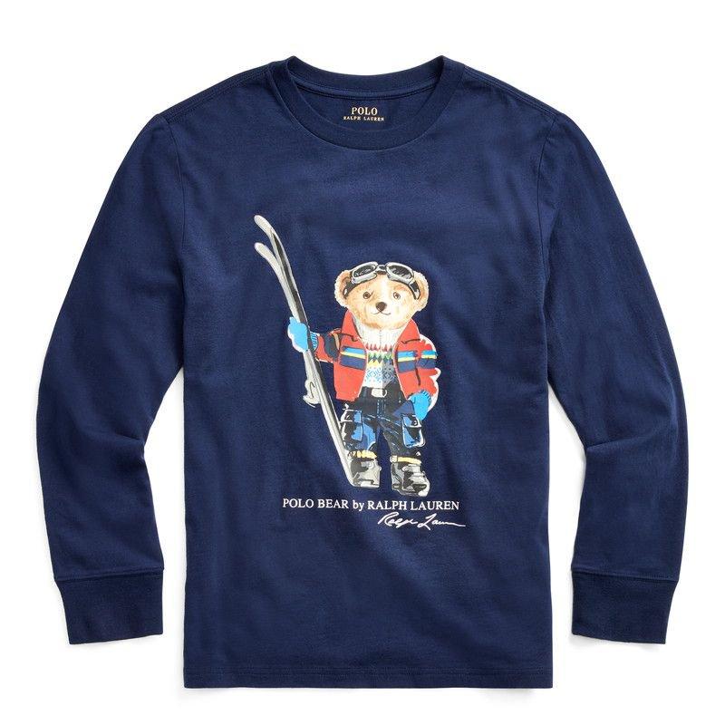 スキーベア・コットン・長袖Tシャツ[ネイビー](ボーイズS〜XL)