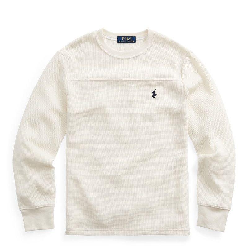 ワッフルニット・コットンブレンド・長袖Tシャツ[3色展開](ボーイズS〜XL)
