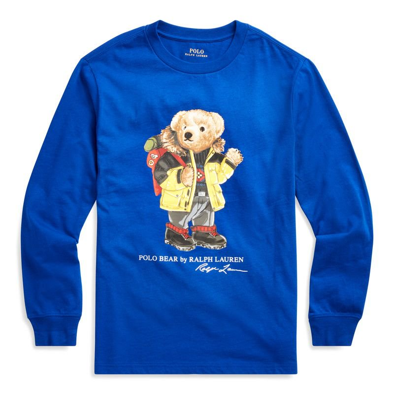 パーカーベア・コットン・長袖Tシャツ[ブルー](ボーイズS〜XL)