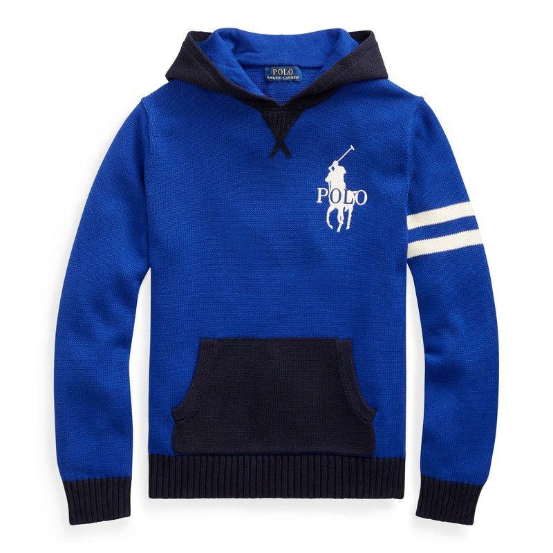 ビッグポニー・コットン・フーデッドセーター[ブルー](ボーイズS〜XL)