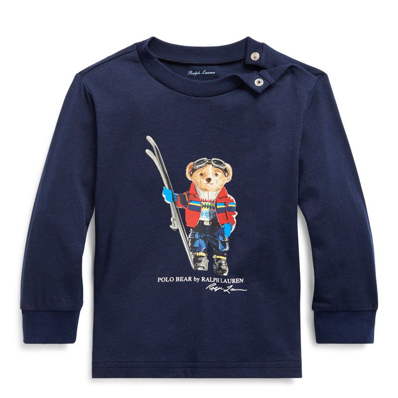 スキーベア・コットンジャージー・長袖Tシャツ[ネイビー](男の子12〜24か月用)
