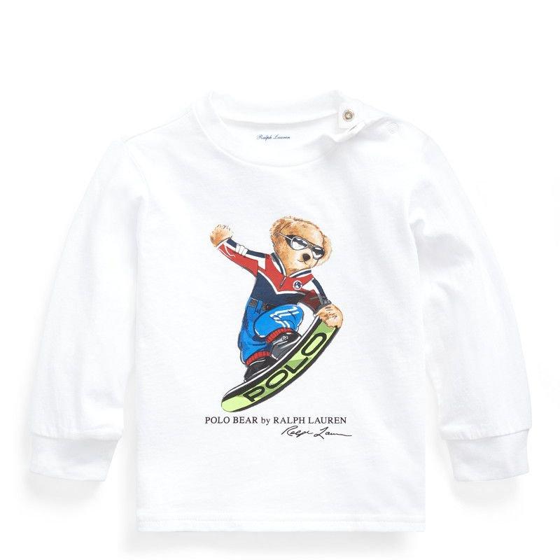 スノーボードベア・コットン・長袖Tシャツ[ホワイト](男の子12〜24か月用)