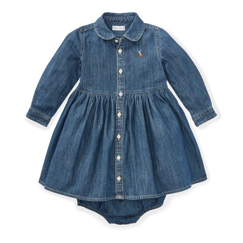 シャードデニム・長袖シャツドレス[ブルー](女の子0〜24か月用)