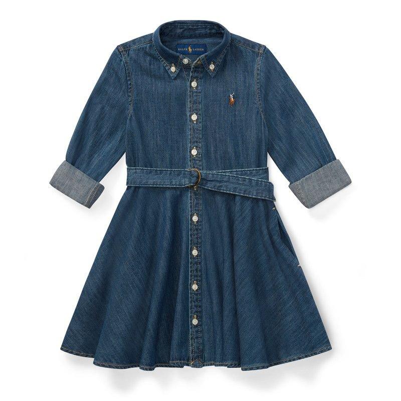 シャードデニム・長袖シャツドレス[ブルー](女の子2〜7歳用)