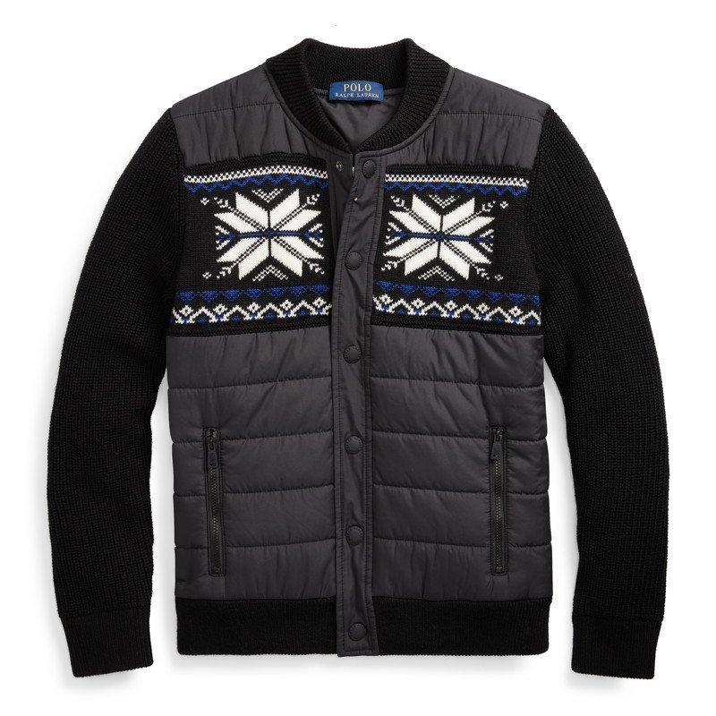 ハイブリッド・スナップフロント・セーター[ブラック](ボーイズS〜XL)