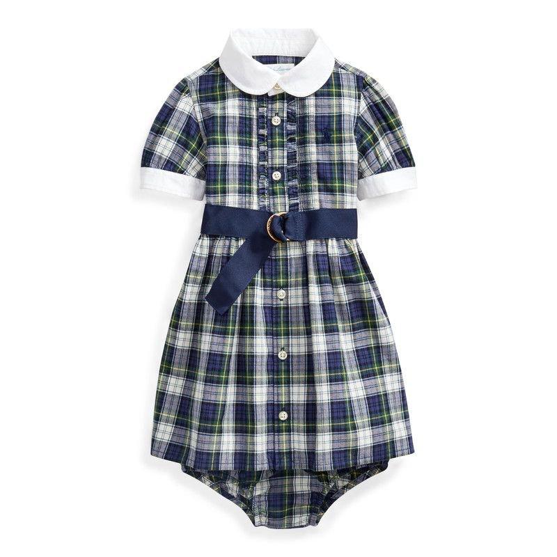 プレイド・半袖シャツドレス[ネイビーグリーン](女の子0〜24か月用)