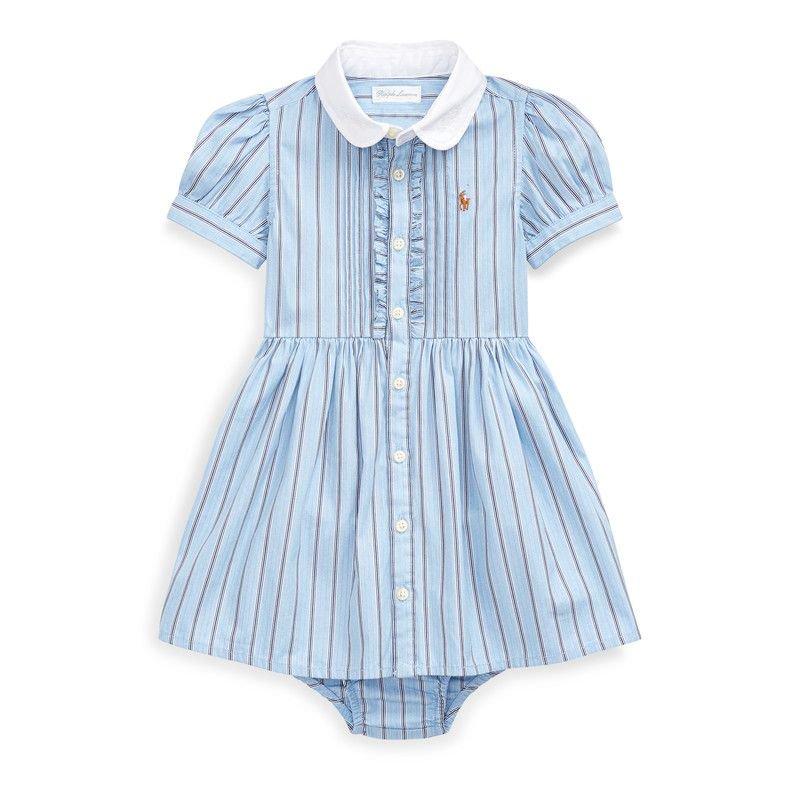 ストライプ・コットン・半袖シャツドレス[ブルーマルチ](女の子0〜24か月用)