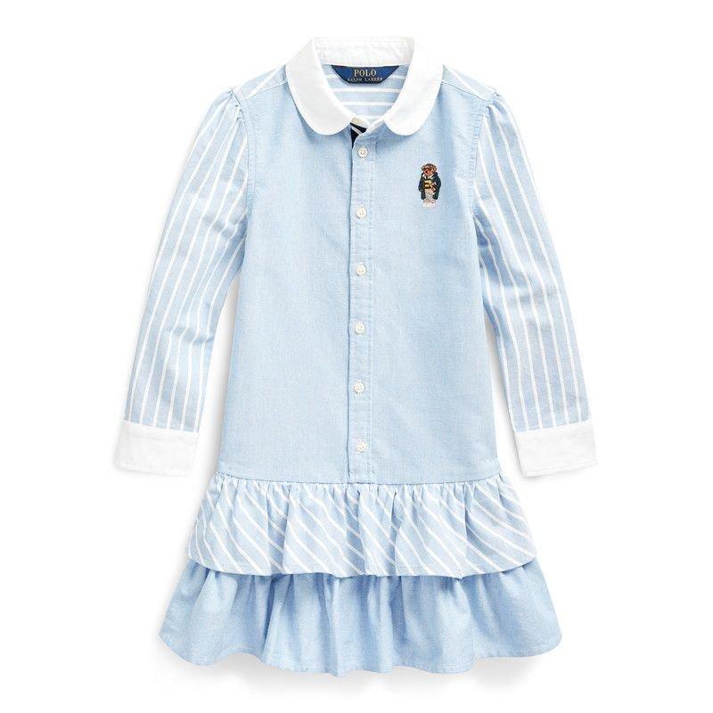 ベアストライプ・コットン・長袖シャツドレス[ブルー](女の子2〜7歳用)