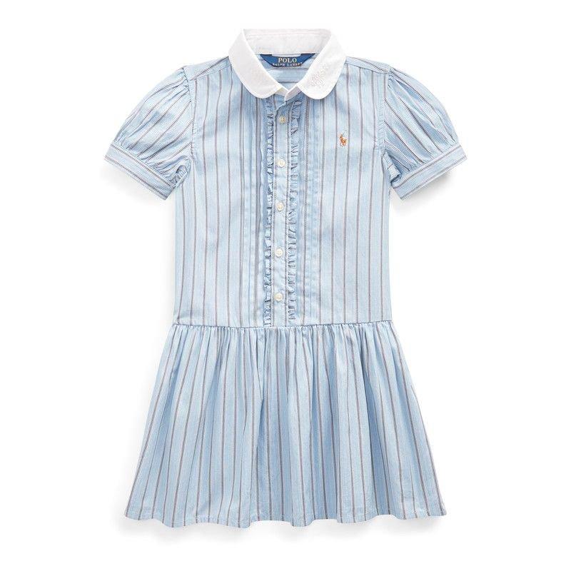 ストライプ・コットン・半袖シャツドレス[ブルー](女の子2〜7歳用)