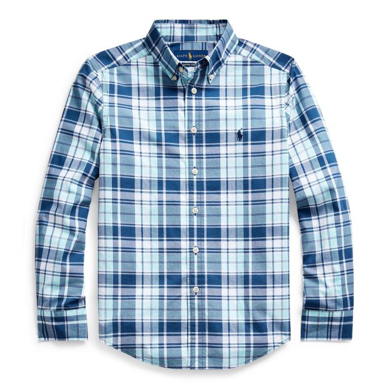 プレイドコットン・ポプリン・長袖シャツ[2色展開](ボーイズS〜XL)