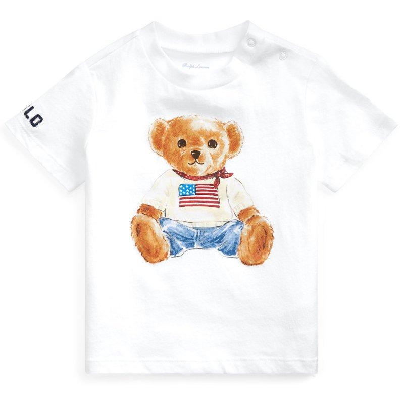 フラッグベア・コットン・半袖Tシャツ[ホワイト](男の子12〜24か月用)