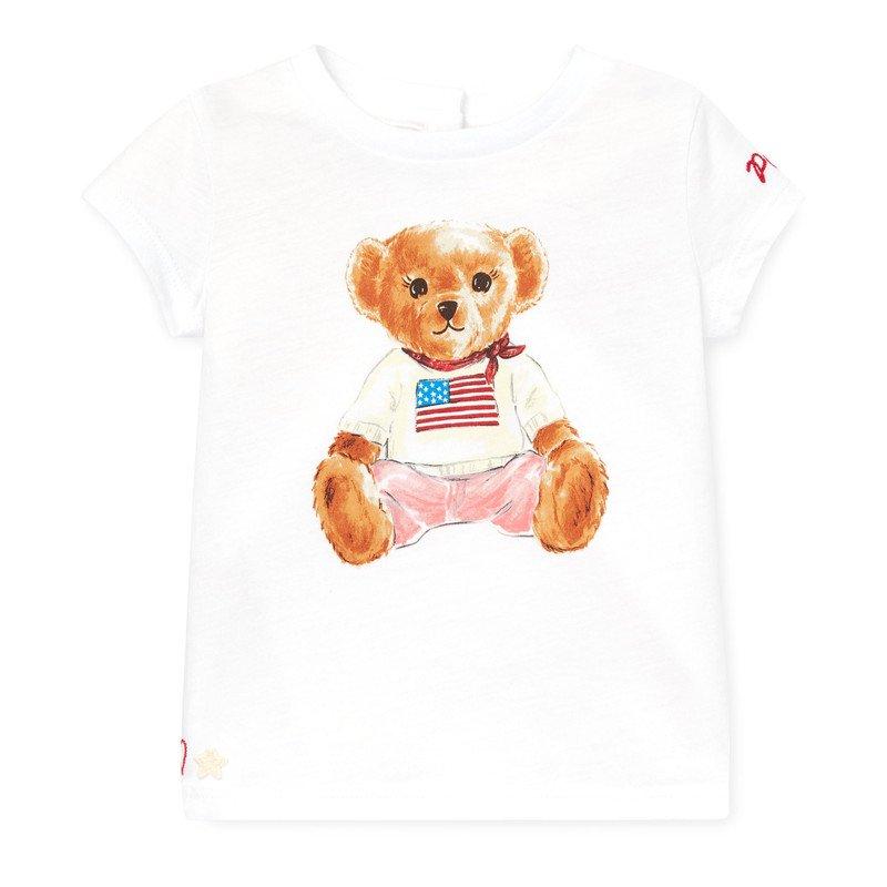 フラッグベア・コットン・半袖Tシャツ[ホワイト](女の子12〜24か月用)