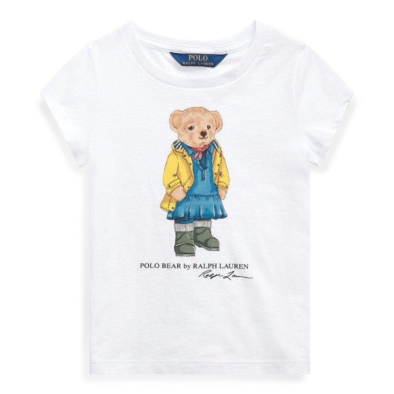 レインコートベア・コットン・半袖Tシャツ[ホワイト](女の子2〜7歳用)