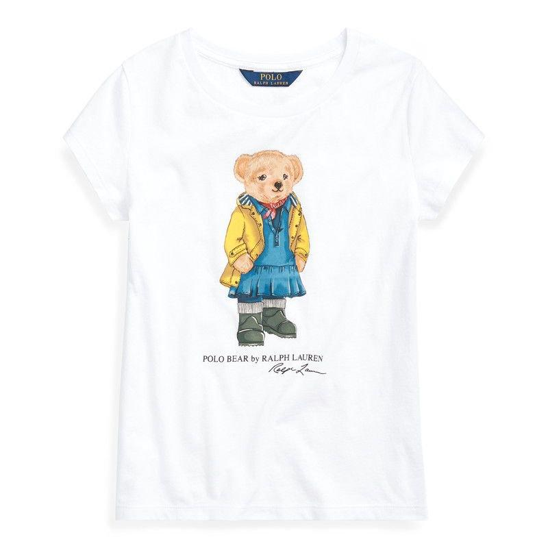レインコートベア・コットン・半袖Tシャツ[ホワイト](ガールズS〜XL)