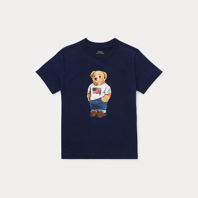 <img class='new_mark_img1' src='https://img.shop-pro.jp/img/new/icons15.gif' style='border:none;display:inline;margin:0px;padding:0px;width:auto;' />フラッグベア・コットン・半袖Tシャツ[2色展開](男の子2〜7歳用)