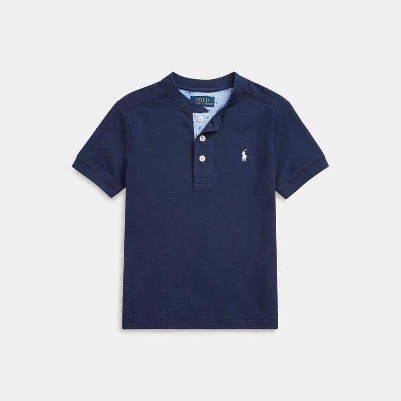 フェザーウェイト・ヘンリーネック・半袖Tシャツ[2色展開](男の子2〜7歳用)