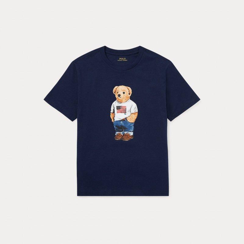 フラッグベア・コットン・半袖Tシャツ[2色展開](ボーイズS〜XL)