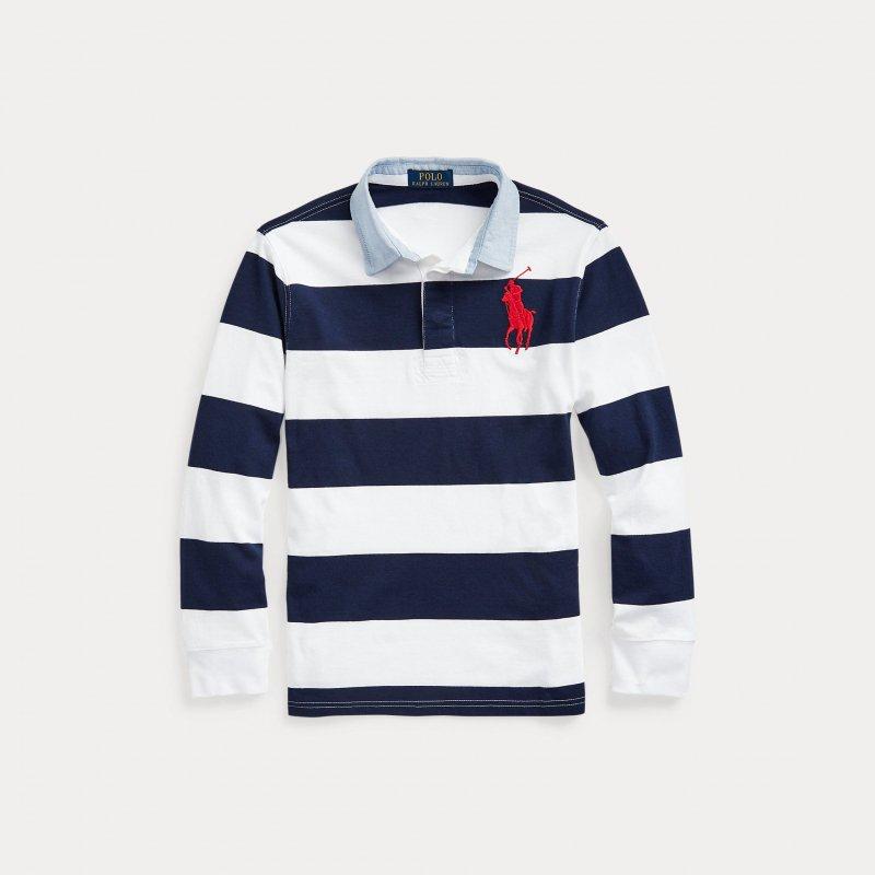 ビッグポニー・ストライプコットン・長袖シャツ[ネイビー](ボーイズSサイズ)(ボーイズS〜XL)